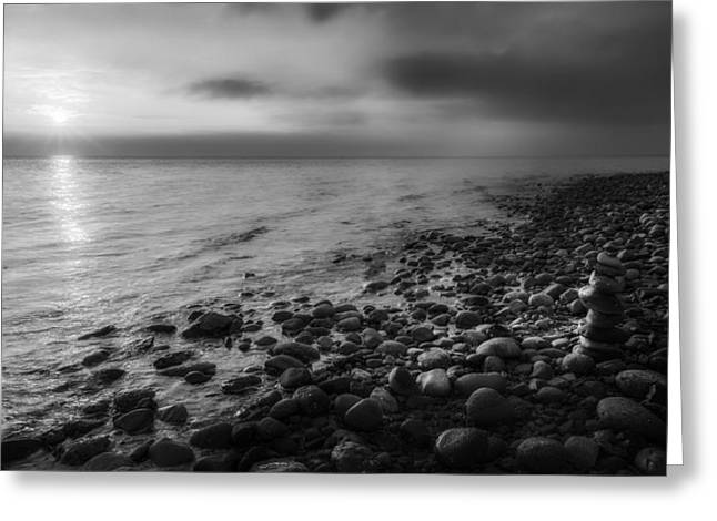 Sunset Zen Bw Greeting Card by Bill Wakeley