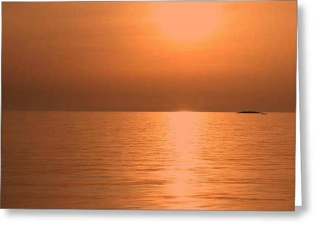 Sunsetorange And The Fisherman Greeting Card by Lucie