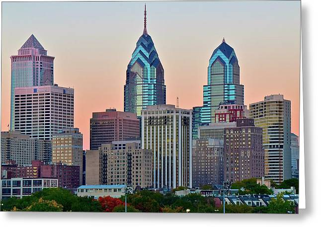 Greeting Card featuring the photograph Sunsets Glow In Philly by Frozen in Time Fine Art Photography