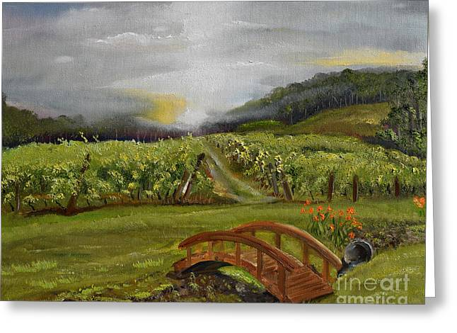 Greeting Card featuring the painting Sunshine Bridge At The Cartecay Vineyard - Ellijay Ga - Vintner's Choice by Jan Dappen