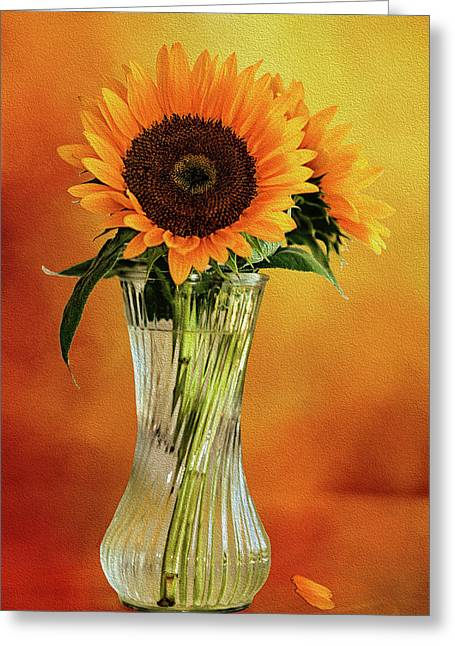 Sunshine In A Vase Greeting Card by Diane Schuster