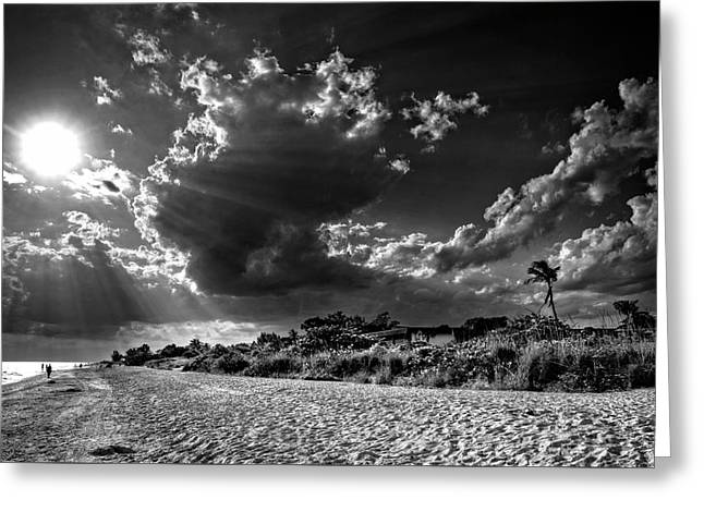 Sunshine On Sanibel Island In Black And White Greeting Card by Chrystal Mimbs