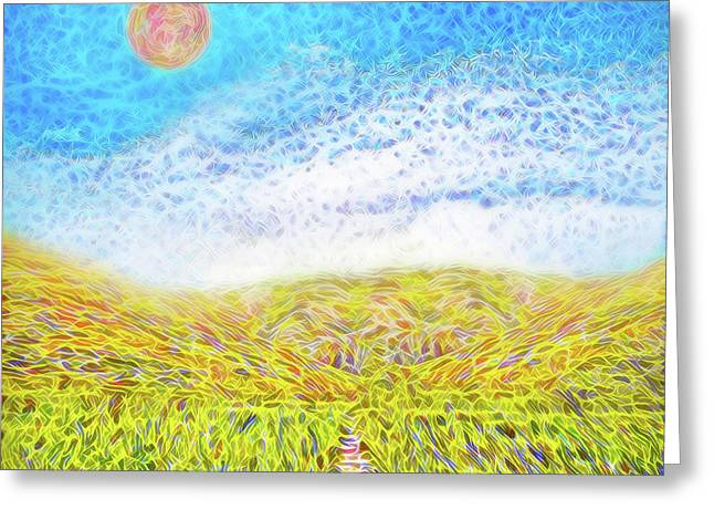 Greeting Card featuring the digital art Sunshine Path - Field In Marin California by Joel Bruce Wallach