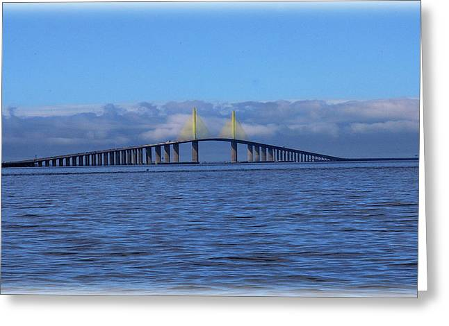 Florida Bridge Greeting Cards - Sunshine Skyway Greeting Card by Amanda Vouglas