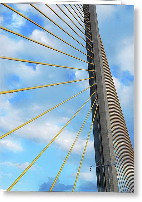 Sunshine Skyway Bridge Angle Greeting Card by Amanda Vouglas