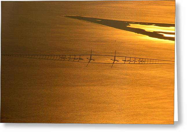 Sunshine Skyway Bridge At Sunset Greeting Card