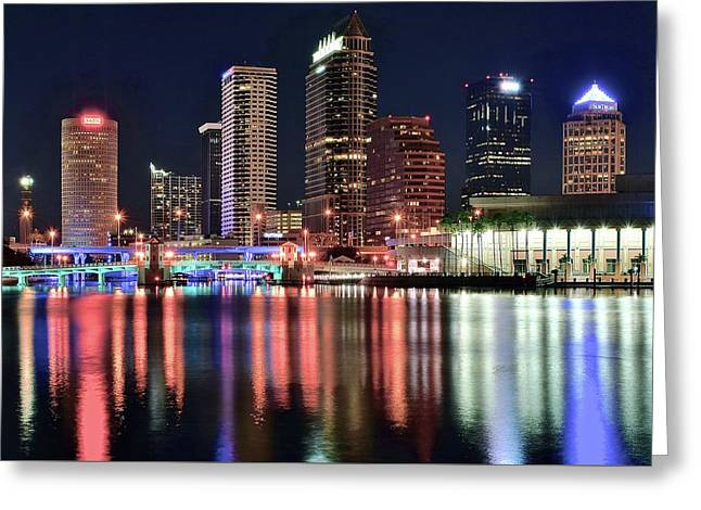 Sunshine State Night Lights Greeting Card by Frozen in Time Fine Art Photography