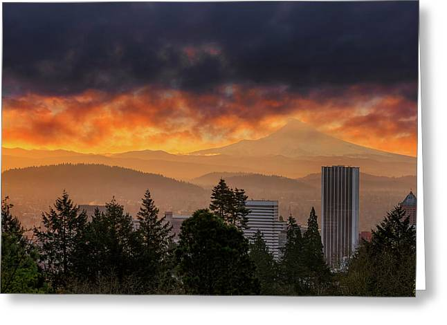 Sunsrise Over City Of Portland And Mount Hood Greeting Card by David Gn