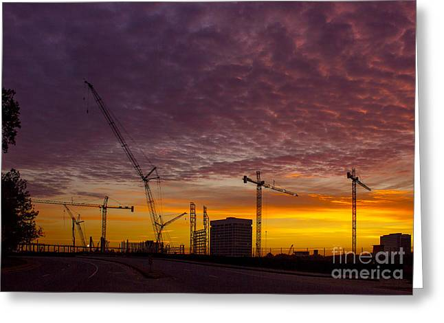 Suntrust Park Sunrise Cranes Building The Future Greeting Card by Reid Callaway