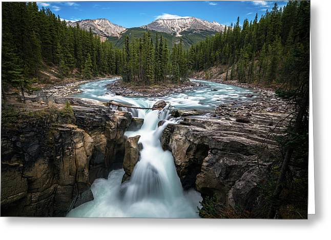 Sunwapta Falls In Jasper National Park Greeting Card
