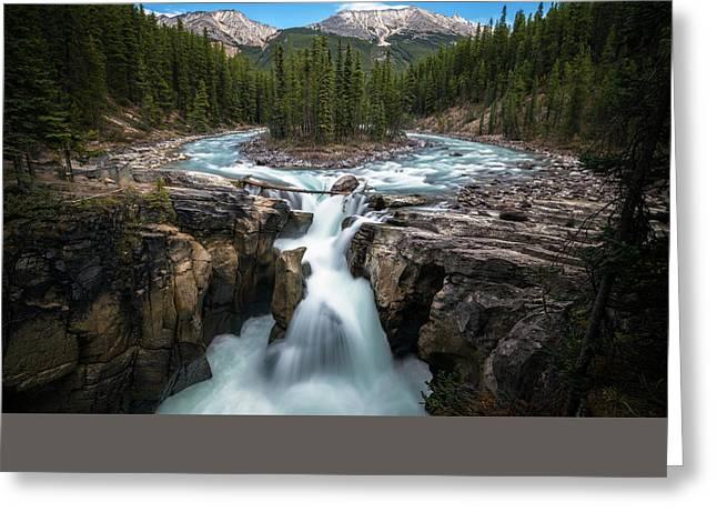 Sunwapta Falls In Jasper National Park Greeting Card by James Udall