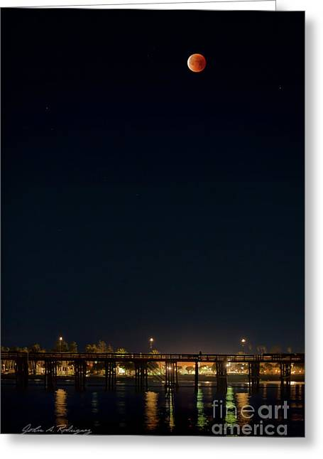 Super Blood Moon Over Ventura, California Pier Greeting Card