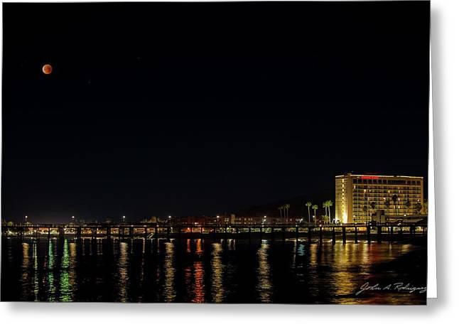 Super Blue Blood Moon Over Ventura, California Pier  Greeting Card