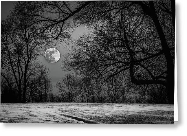 Super Blue Moon Rising Bw Greeting Card