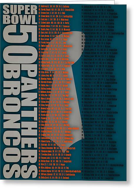 Super Bowl 50 Broncos Panthers Roster 2 Greeting Card
