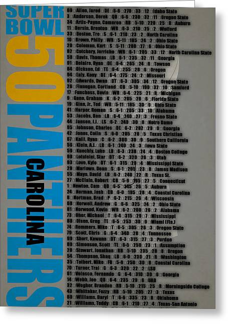 Super Bowl 50 Carolina Panthers Roster Greeting Card