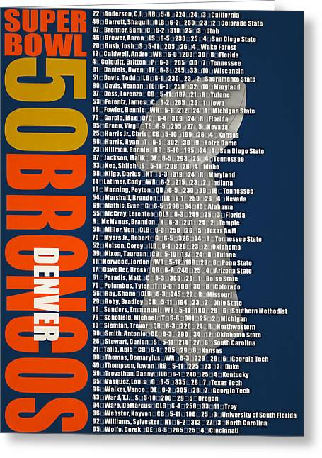 Super Bowl 50 Denver Broncos Roster Greeting Card