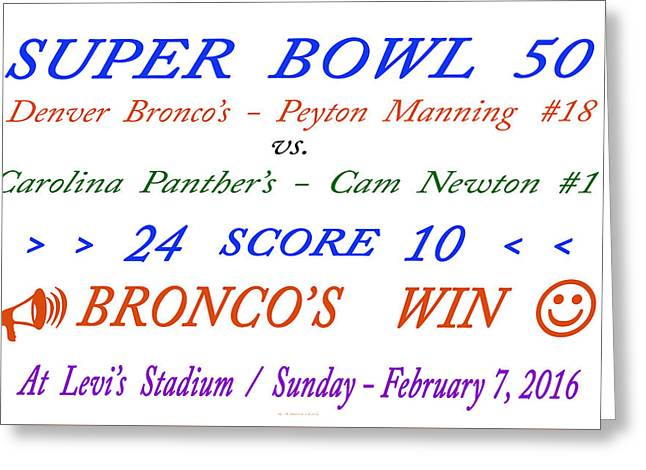 Super  Bowl  Fifty Greeting Card by Carl Deaville