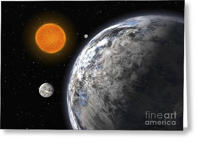 Super-earth Exoplanets Orbiting Hd 40307 Greeting Card by European Southern Observatory