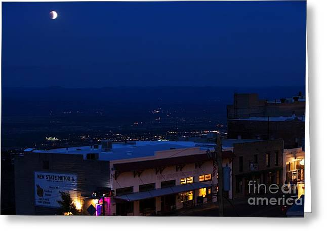 Greeting Card featuring the photograph Super Full Moon 1/2 Eclipse Over Jerome Az by Ron Chilston