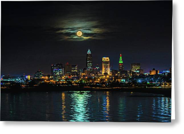 Super Full Moon Over Cleveland Greeting Card