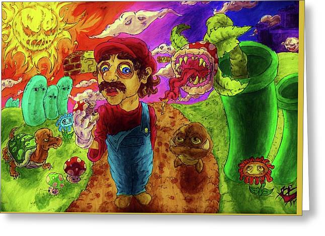 Super Mario Boomers Greeting Card by Trevor Davy