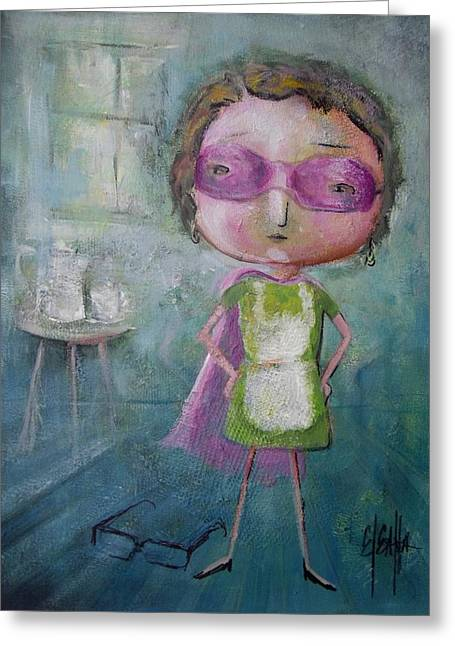 Greeting Card featuring the painting Super Mom by Eleatta Diver