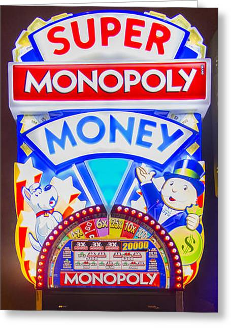 Super Monopoly Money Slot Machine At Lumiere Place Casino Greeting Card by David Oppenheimer