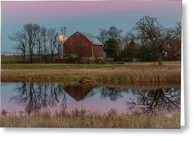 Super Moon And Barn Series #1 Greeting Card