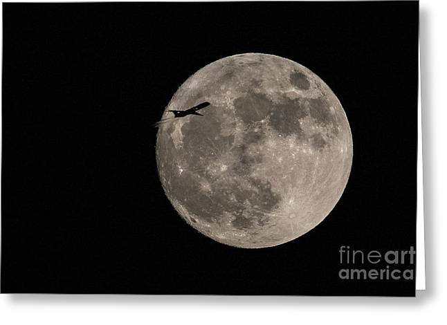 Super Moon And Plane Greeting Card by Jennifer Ludlum