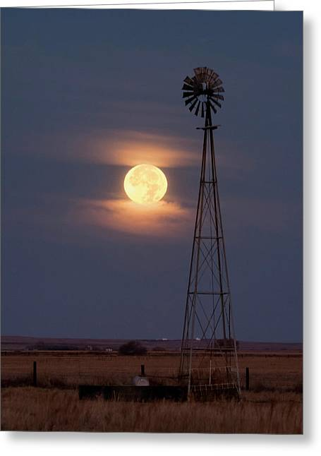 Super Moon And Windmill Greeting Card by Rob Graham