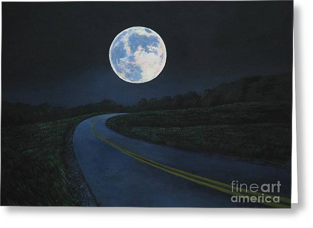 Super Moon At The End Of The Road Greeting Card