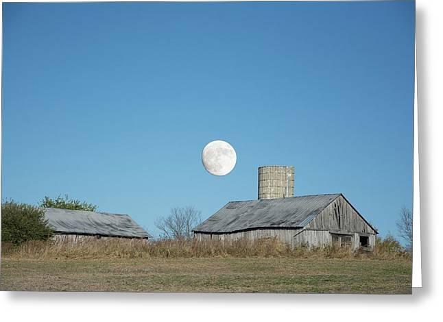 Super Moon Barn Greeting Card by Randall Branham