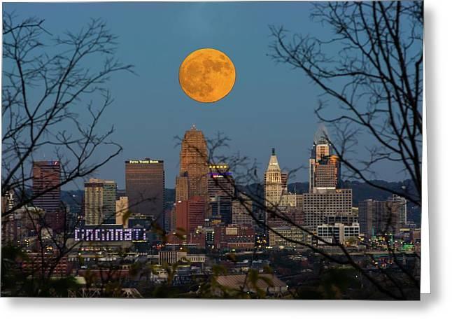 Super Moon City Thru The Trees Greeting Card by Randall Branham