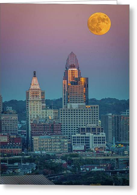 Super Moon Over Great American City Greeting Card by Randall Branham