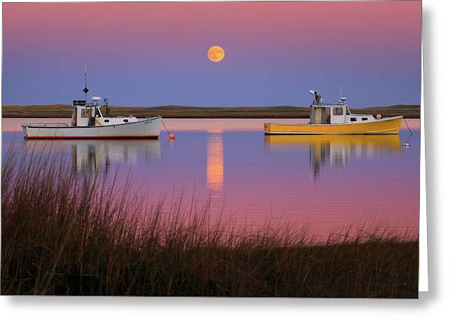 Super Moon Over Nauset Beach Cape Cod National Seashore Greeting Card
