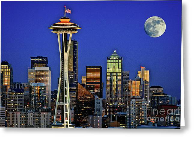 Super Moon Over Seattle Greeting Card