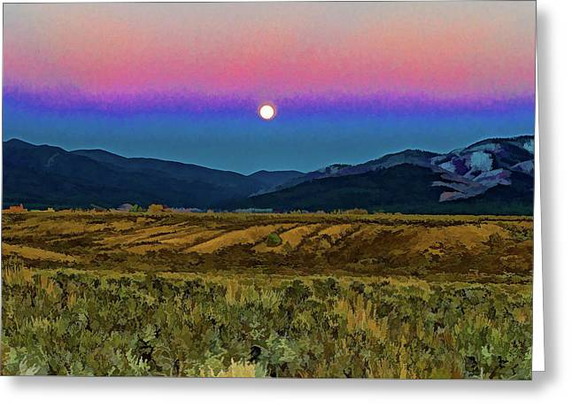 Super Moon Over Taos Greeting Card