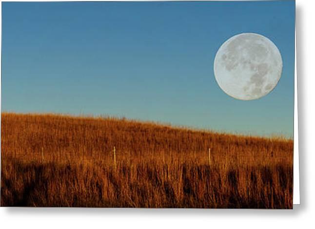 Super Moon Over The Prairie Greeting Card