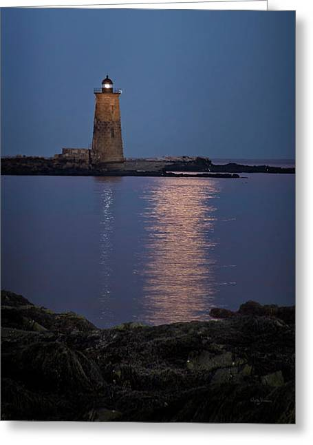 Super Moon Over Whaleback Lighthouse Greeting Card