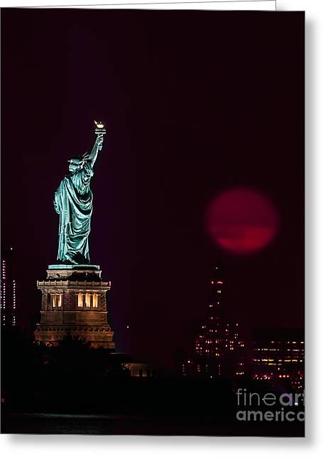 Super Moon Rising And The Statue Of Liberty Greeting Card