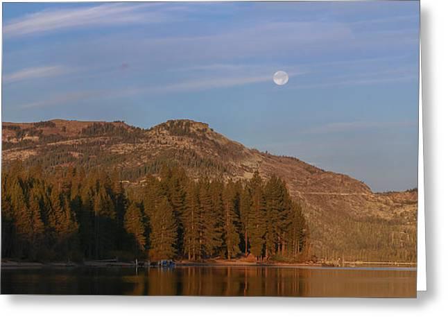 Super Moon Setting- Donner Lake Greeting Card