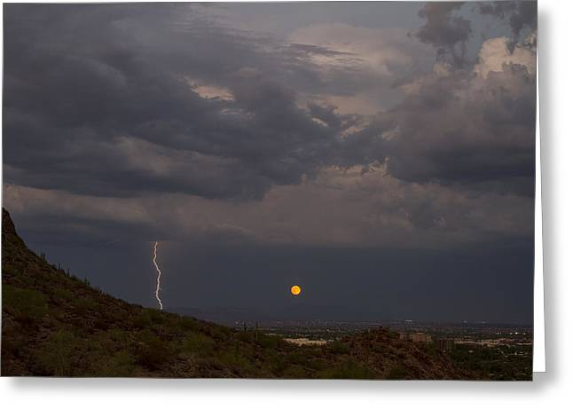 Super Moon With Lightning Greeting Card by Cathy Franklin