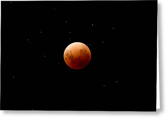 Super Red Blue Moon Eclipse Greeting Card