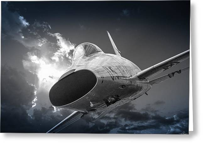 Super Sabre Rolling In On The Target Greeting Card