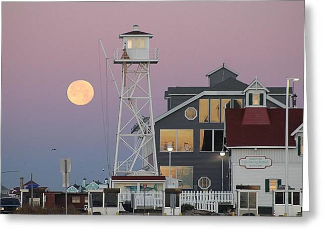 Super Wolf Moon At The Watch Tower Greeting Card