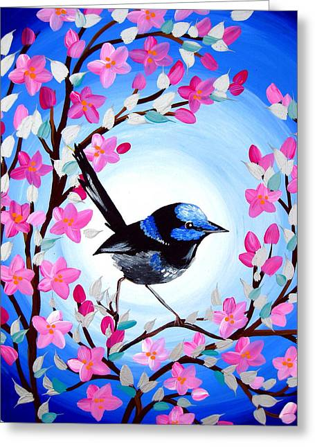 Superb Fairy Wren Greeting Card by Cathy Jacobs