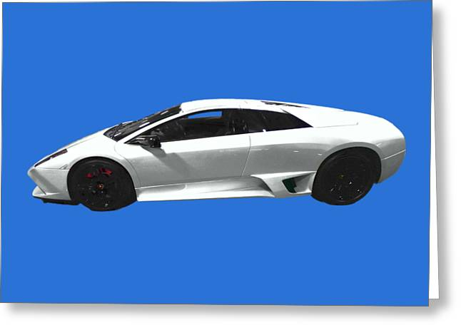 Supercar In White Art Greeting Card