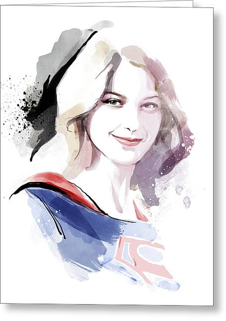 Supergirl Greeting Card by Unique Drawing