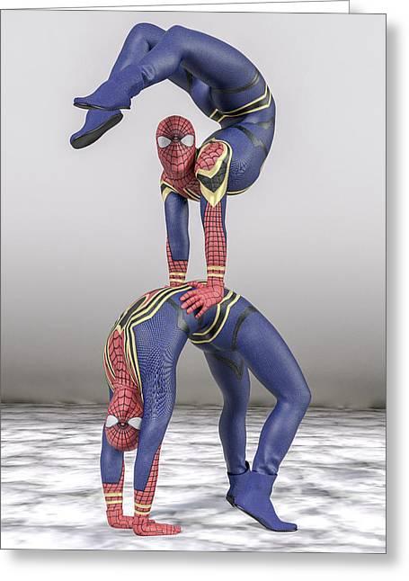 Superhero Acroyoga Pose One Greeting Card